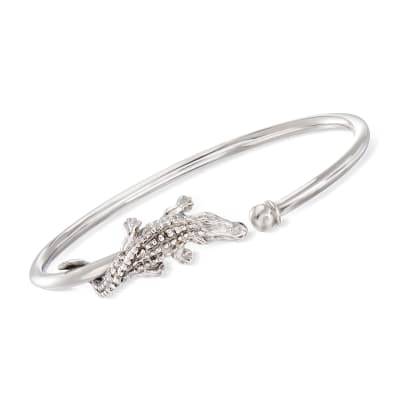 Italian Alligator Cuff Bangle Bracelet in Sterling Silver