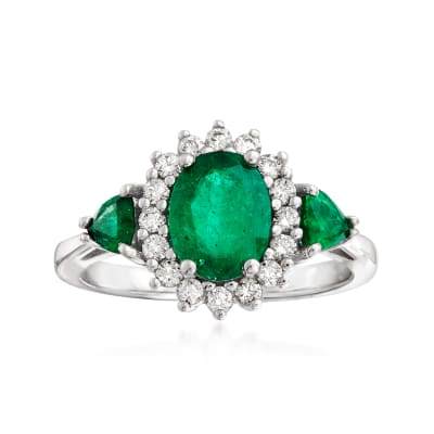 1.70 ct. t.w. Emerald and .32 ct. t.w. Diamond Halo Ring in 14kt White Gold