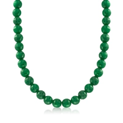 Faceted Jade Bead Necklace with Sterling Silver