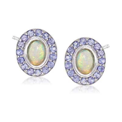 Opal and .90 ct. t.w. Tanzanite Earrings in Sterling Silver