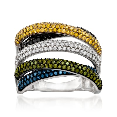 2.00 ct. t.w. Multicolored Pave Diamond Highway Ring in Sterling Silver