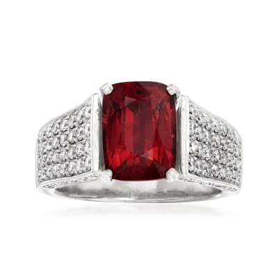C. 1990 Vintage 3.75 Carat Garnet and 1.15 ct. t.w. Diamond Ring in 14kt White Gold