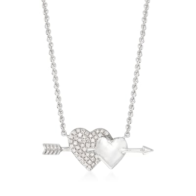 .10 ct. t.w. Diamond Double-Heart and Arrow Necklace in Sterling Silver
