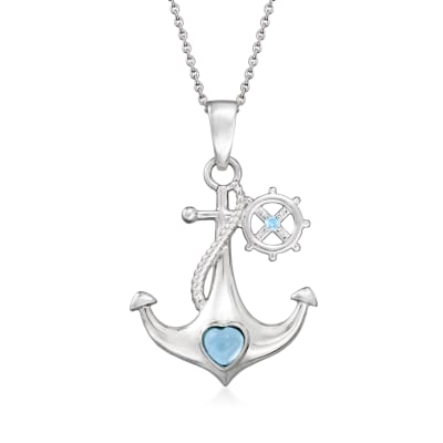 .64 ct. t.w. Swiss Blue Topaz Anchor and Heart Pendant Necklace in Sterling Silver