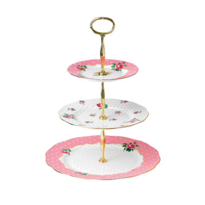 "Royal Albert ""Cheeky Pink"" 3-Tier Cake Stand"