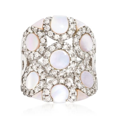 C. 1980 Vintage Mother-Of-Pearl and 1.14 ct. t.w. Diamond Circle Ring in 18kt White Gold