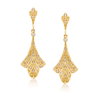 .10 ct. t.w. Diamond Floral Drop Earrings in 18kt Gold Over Sterling