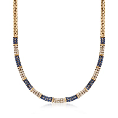 C. 1990 Vintage 8.00 ct. t.w. Sapphire and 3.60 ct. t.w. Diamond Necklace in 18kt Yellow Gold