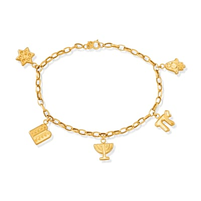 Italian 14kt Yellow Gold Symbols of Judaism Charm Bracelet