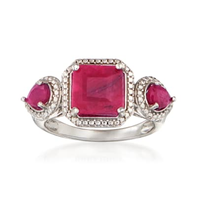 3.40 ct. t.w. Ruby Three-Stone Ring in Sterling Silver