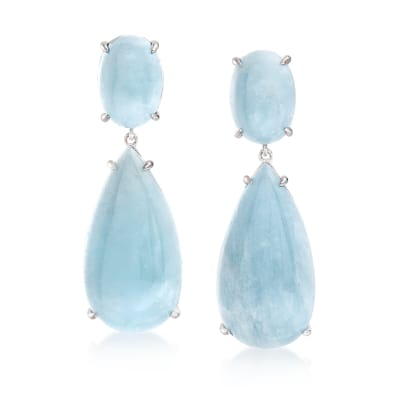 50.00 ct. t.w. Milky Aquamarine Drop Earrings in Sterling Silver