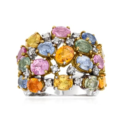 C. 1990 Vintage 7.25 ct. t.w. Multicolored Sapphire and .40 ct. t.w. Diamond Ring in 18kt White Gold