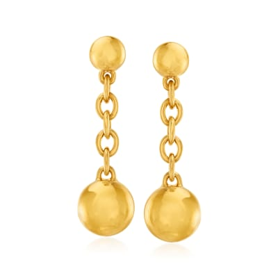 Italian Andiamo 14kt Yellow Gold Over Resin Bead Drop Earrings