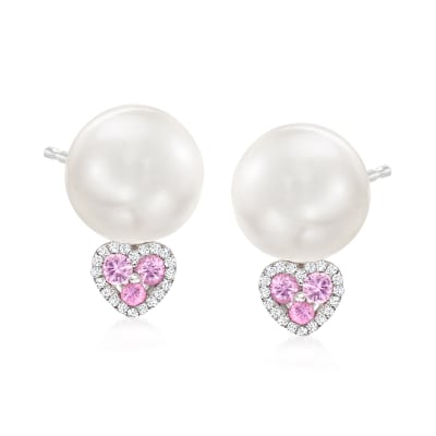 10-10.5mm Cultured Pearl Drop Earrings with .20 ct. t.w. Pink Sapphire Hearts and Diamond Accents in 14kt White Gold