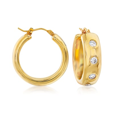 Italian Andiamo 3.00 ct. t.w. CZ and 14kt Yellow Gold Over Resin Hoop Earrings