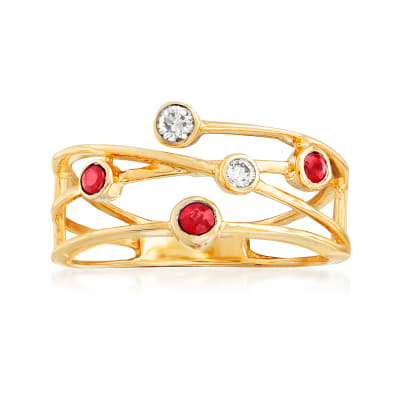 .11 ct. t.w. Diamond and .10 ct. t.w. Ruby Highway Ring in 14kt Yellow Gold