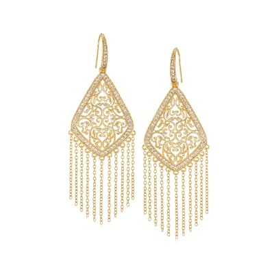 1.13 ct. t.w. CZ Chandelier Fringe Drop Earrings in 18kt Gold Over Sterling