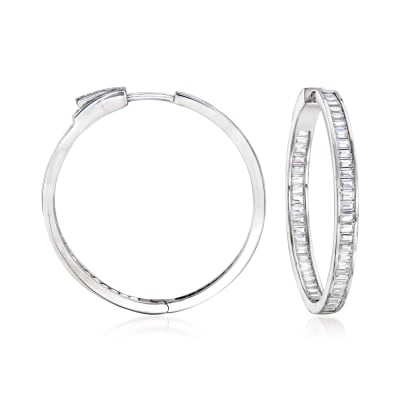 2.80 ct. t.w. Baguette CZ Inside-Outside Hoop Earrings in Sterling Silver