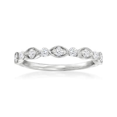 Henri Daussi .30 ct. t.w. Diamond Wedding Ring in 18kt White Gold