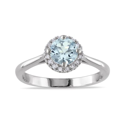 .70 Carat Aquamarine Ring with Diamond Accents in Sterling Silver