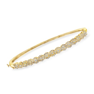 1.00 ct. t.w. Diamond Bangle Bracelet in 18kt Yellow Gold Over Sterling Silver