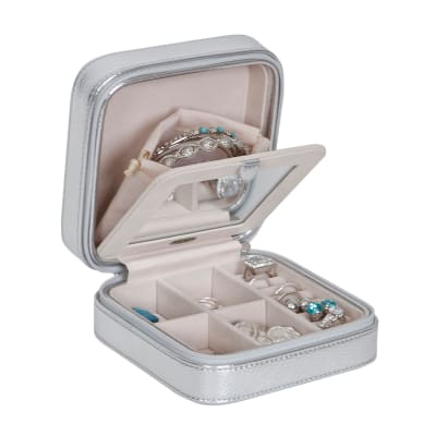 Mele & Co. Metallic Silver Faux Leather Travel Jewelry Box