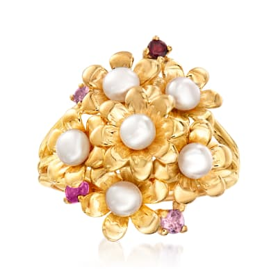 3.5-4mm Cultured Freshwater Pearl and Mixed Gemstone-Accented Flower Ring in 18kt Gold Over Sterling