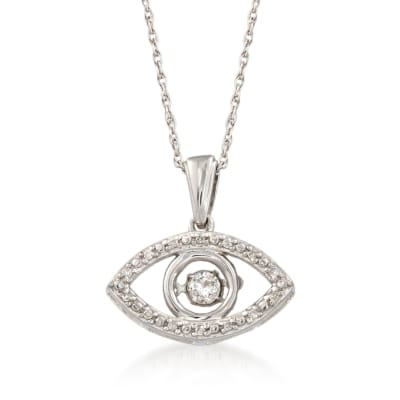 Diamond Accent Evil Eye Pendant Necklace in Sterling Silver