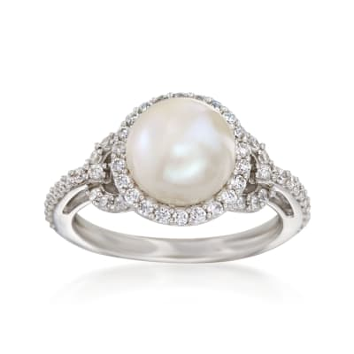 8.5-9mm Cultured Pearl Ring with .50 ct. t.w. CZs in Sterling Silver