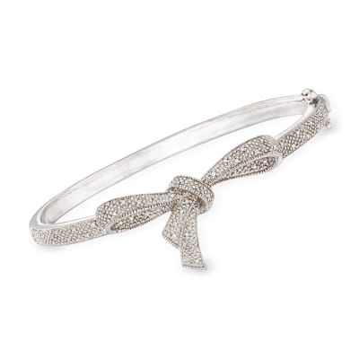.15 ct. t.w. Diamond Bow Bangle Bracelet in Sterling Silver