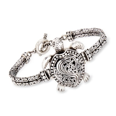 Sterling Silver Filigree Turtle Toggle Bracelet
