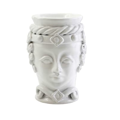 "Vietri ""Sicilian Heads"" Small White Queen Head from Italy"