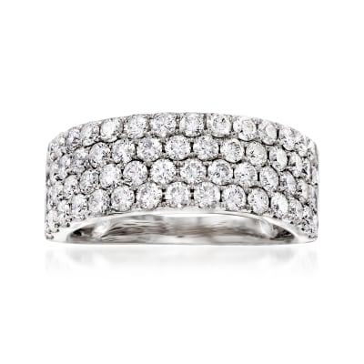 1.90 ct. t.w. Diamond Four-Row Ring in 18kt White Gold