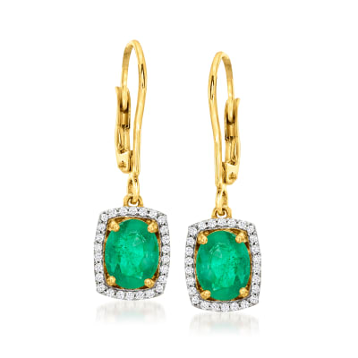 1.80 ct. t.w. Emerald and .23 ct. t.w. Diamond Drop Earrings in 14kt Yellow Gold