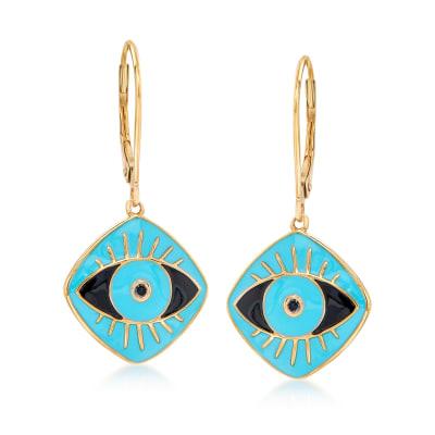 Black and Blue Enamel Evil Eye Drop Earrings in 18kt Gold Over Sterling