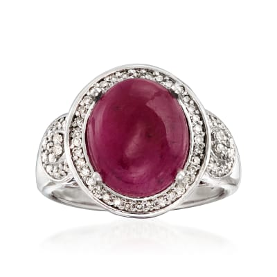 7.00 Carat Ruby and .36 ct. t.w. Diamond Ring in Sterling Silver
