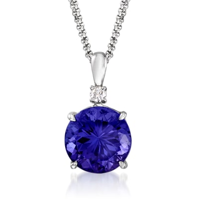9.75 Carat Tanzanite and .81 ct. t.w. Diamond Pendant Necklace in 18kt White Gold