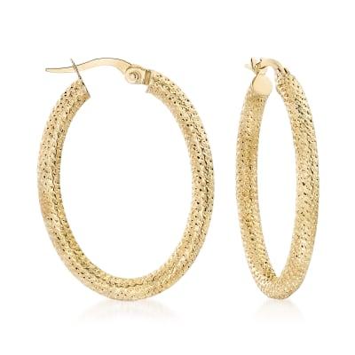 Italian 18kt Yellow Gold Textured Oval Hoop Earrings