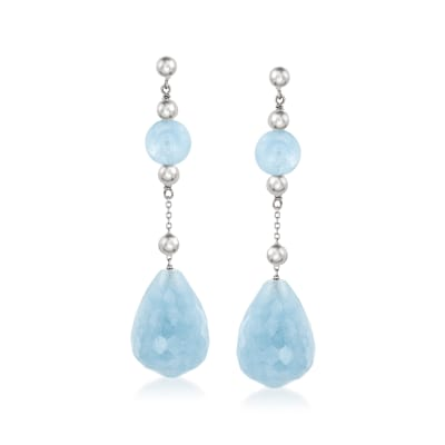 64.00 ct. t.w. Aquamarine Drop Earrings in Sterling Silver