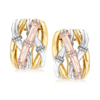 .57 ct. t.w. Diamond Station Twist Earrings in 14kt Tri-Colored Gold