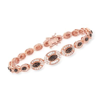 2.40 ct. t.w. Brown and CZ Bracelet in 18kt Rose Gold Over Sterling