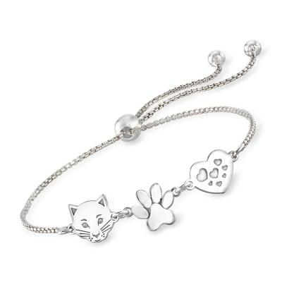 Italian Sterling Silver Cat, Paw and Heart Bolo Bracelet
