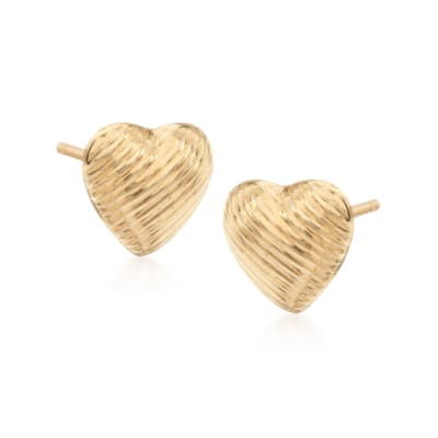 14kt Yellow Gold Textured Heart Stud Earrings