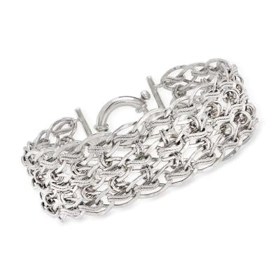 Sterling Silver Textured and Polished   Multi-Link Bracelet