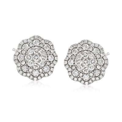 3.00 ct. t.w. Diamond Floral Earrings in 14kt White Gold