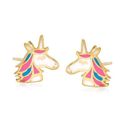 14kt Yellow Gold and Multicolored Enamel Unicorn Earrings