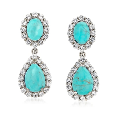 Turquoise and 2.20 ct. t.w. White Topaz Double Drop Earrings in Sterling