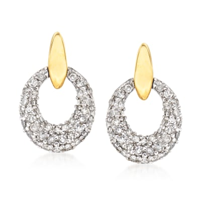 .40 ct. t.w. Diamond Doorknocker Earrings in 14kt Two-Tone Gold