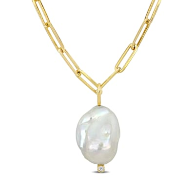 Cultured Baroque Pearl Paper Clip Link Necklace with Diamond Accent in 14kt Yellow Gold