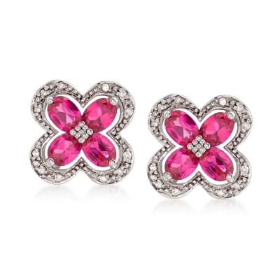 1.40 ct. t.w. Simulated Ruby Stud Earrings in Sterling Silver